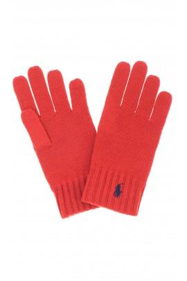 Rękawiczki chłopięce czerwone, Polo Ralph Lauren