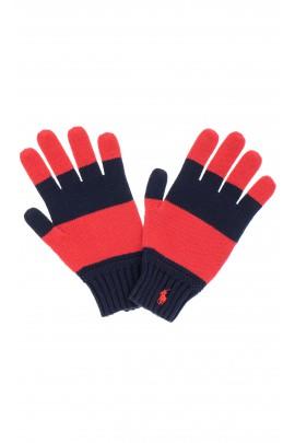 Rękawiczki chłopięce czerwono granatowe, Polo Ralph Lauren