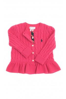 Ciemno różowy sweterek rozpinany z falbanką, Polo Ralph Lauren