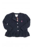 Granatowy sweterek rozpinany z falbanką, Polo Ralph Lauren