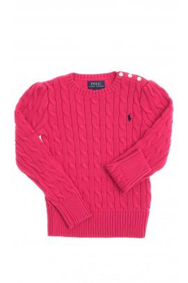 Ciemno różowy sweter, ścieg warkoczowy, Polo Ralph Lauren