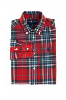 Czerwona koszula chłopięca w kratkę, Polo Ralph Lauren