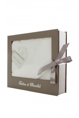 Biały ręcznik kąpielowy niemowlęcy,  Tartine et Chocolat