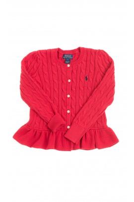 Sweter czerwony z falbanką, Polo Ralph Lauren