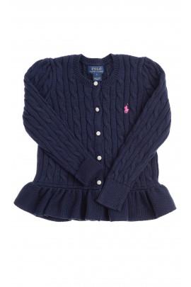 Granatowy sweter rozpinany z falbanką, Polo Ralph Lauren