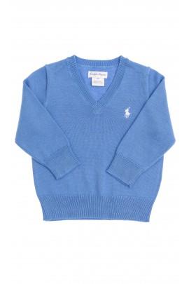 Sweter niebieski w literkę V, Polo Ralph Lauren
