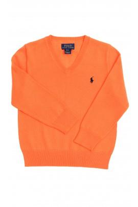 Sweter pomarańczowy w literkę V, Polo Ralph Lauren