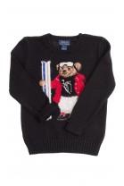 Czarny sweter chłopięcy z misiem, Polo Ralph Lauren