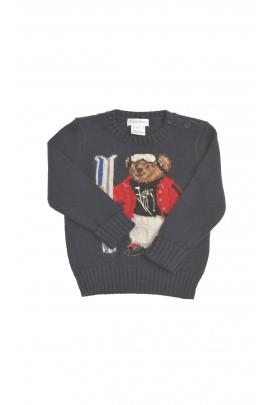 Granatowy sweter z przodu z misiem, Polo Ralph Lauren