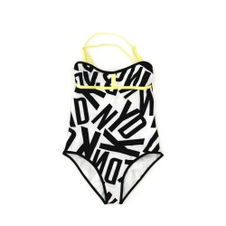 White-and-black one-piece swimsuit, DKNY