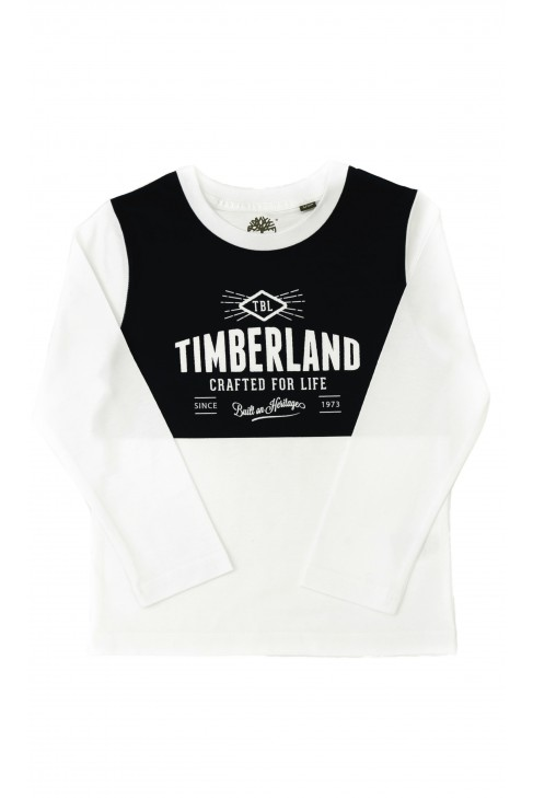 White-and-navy blue long-sleeved T-shirt, Timberland
