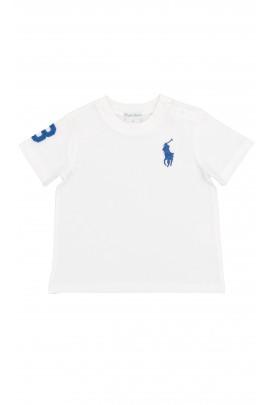 Biały t-shirt z szafirowym konikiem, Polo Ralph Lauren