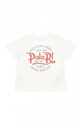 Biały t-shirt z czerwonym napisem, Polo Ralph Lauren