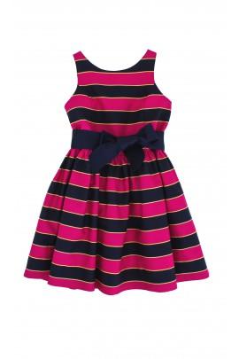 Różowo-granatowa sukienka w paski Polo Ralph Lauren