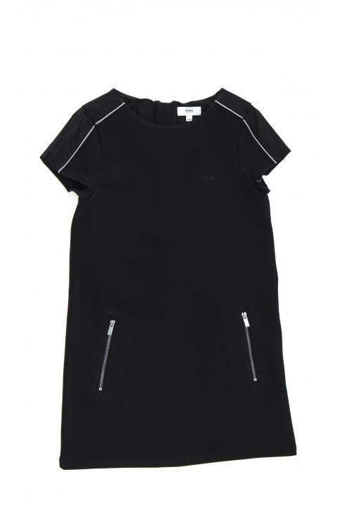 Czarna sukienka z dzianiny, Hugo Boss