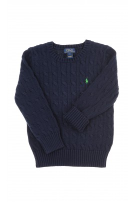 Sweter granatowy splot warkoczowy, Polo Ralph Lauren