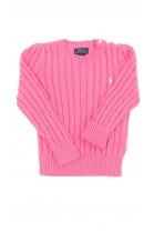 Różowy sweter o splocie warkoczowym, Polo Ralph Lauren