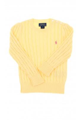 Żółty sweter o splocie warkoczowym, Polo Ralph Lauren