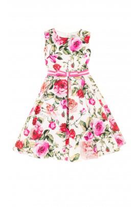 Sukienka letnia w kolorowe róże bez kołnierzyka, Lesy