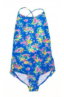 Niebieski strój kąpielowy w kwiaty, Polo Ralph Lauren