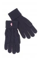 Granatowe rękawiczki pięciopalczaste dziewczęce, Polo Ralph Lauren