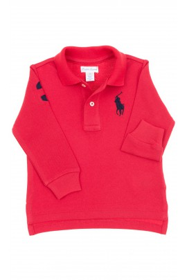 Czerwone polo chłopięce z długim rękawem, Polo Ralph Lauren