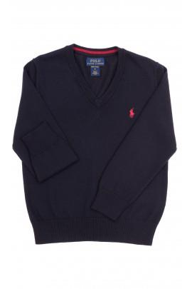 Granatowy sweter w serek, Polo Ralph Lauren