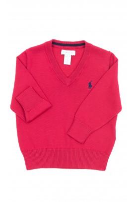 Czerwony sweter w serek, Polo Ralph Lauren