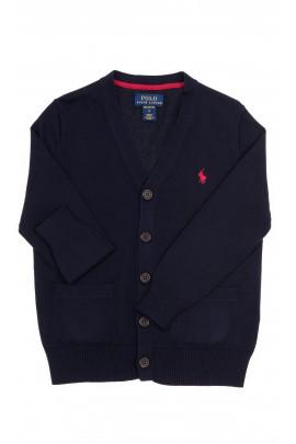 Granatowy sweter chłopięcy rozpinany z przodu, Polo Ralph Lauren