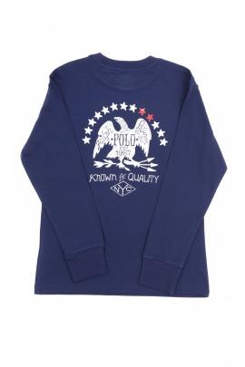 Granatowy t-shirt z długim rękawem, Polo Ralph Lauren
