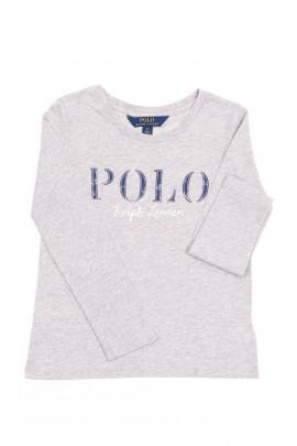 Szary t-shirt dziewczęcy na długi rękaw, Polo Ralph Lauren