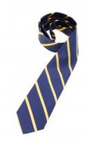 Granatowy krawat w złote ukośne paski, Polo Ralph Lauren