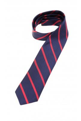 Granatowy krawat w czerwone ukośne paski, Polo Ralph Lauren