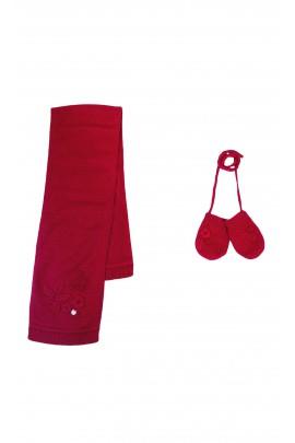 Czerwony komplet: szalik +rękawiczki, Tartine et Chocolat