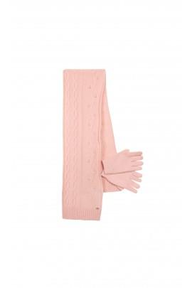 Różowy komplet: szalik + rękawiczki, Tartine et Chocolat