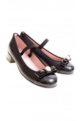 Czarne pantofelki na obcasie, Pretty Ballerinas