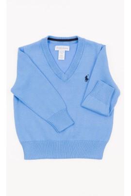 Niebieski sweter chłopięcy w serek, Polo Ralph Lauren