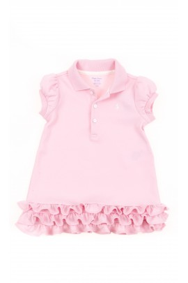 Pudrowa sukienka niemowlęca z kołnierzykiem, Polo Ralph Lauren