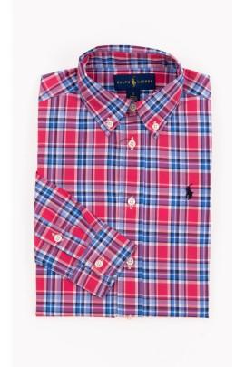 Koszula chłopięca w różowo-niebieską kratkę, Polo Ralph Lauren