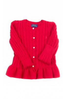Czerwony sweter dziewczęcy rozpinany, Polo Ralph Lauren
