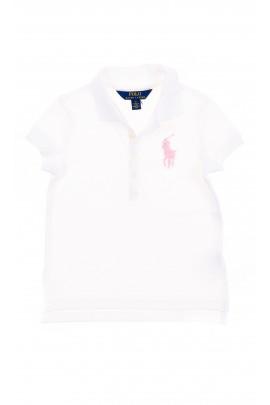 Biała polówka dziewczęca z różowym konikiem, Polo Ralph Lauren