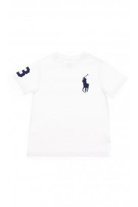 Biały t-shirt z dużym granatowym konikiem, Polo Ralph Lauren