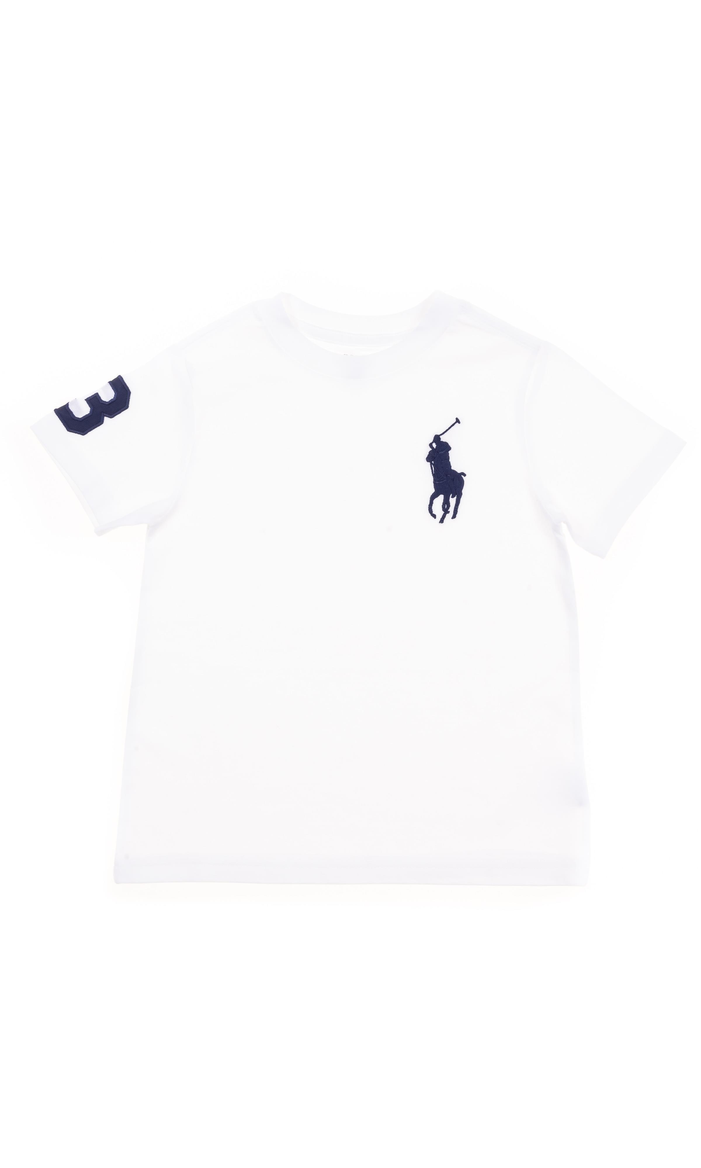 T shirt blanc avec un grand cheval bleu marine, Polo Ralph Lauren Celebrity Club