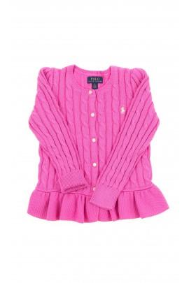 Różowy rozpinany sweter dziewczęcy, Polo Ralph Lauren