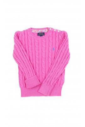 Różowy sweter dziewczęcy pod szyję, Polo Ralph Lauren