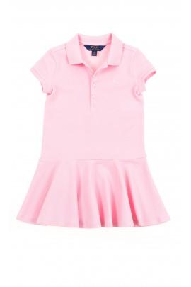 Różowa sukienka na dole z falbaną, Polo Ralph Lauren