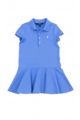 Niebieska sukienka z falbaną, Polo Ralph Lauren