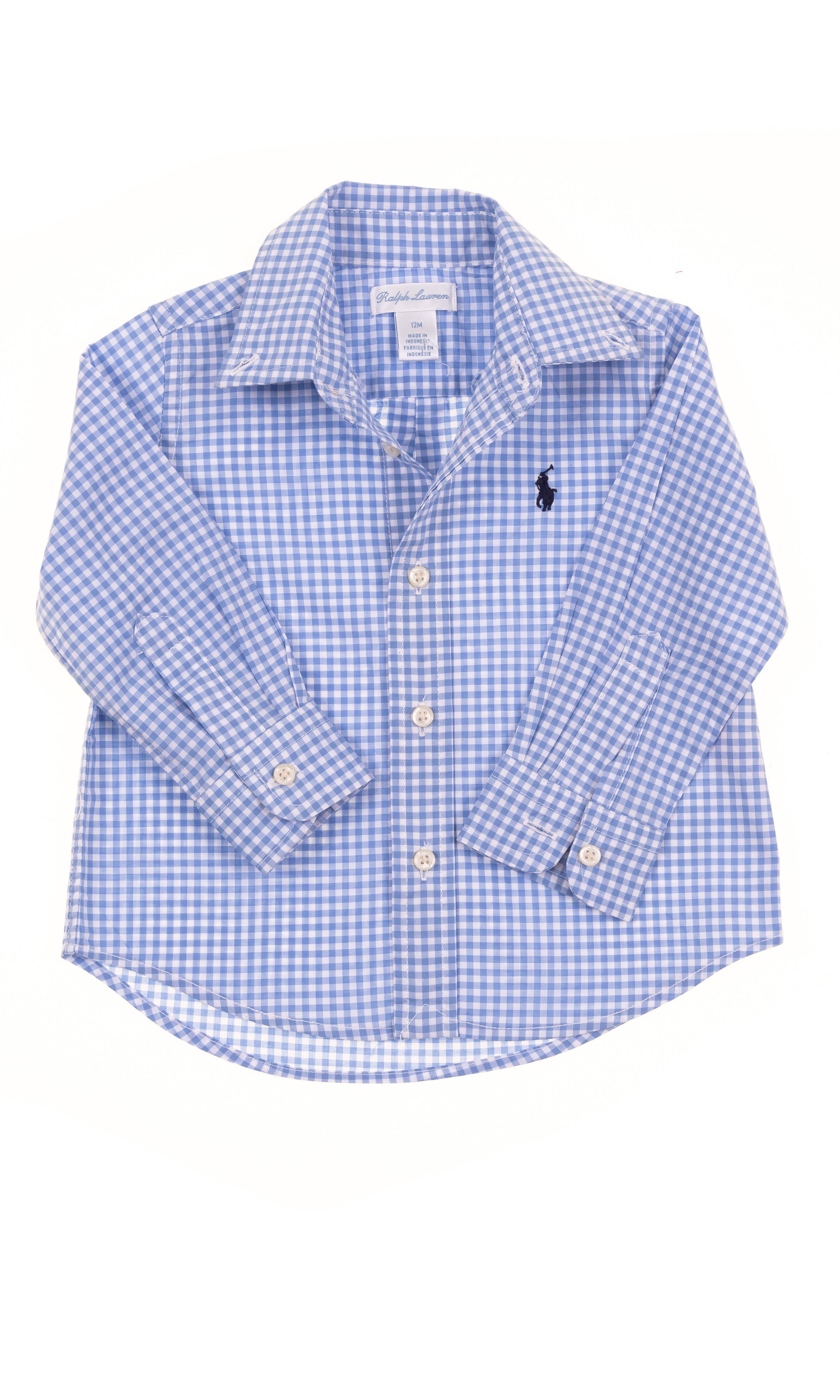 ea11333e5 Chemise bleue à carreaux fins, Polo Ralph Lauren - Celebrity-Club