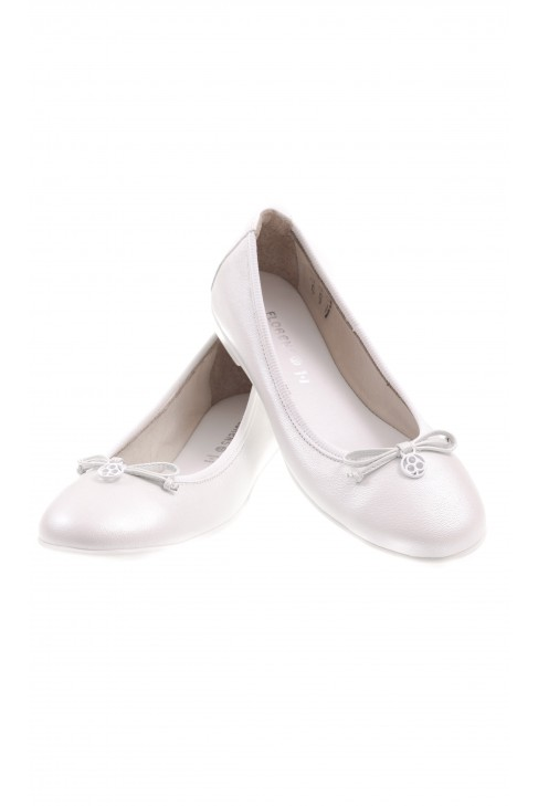 Białe balerynki dziewczęce skórzane, Florens