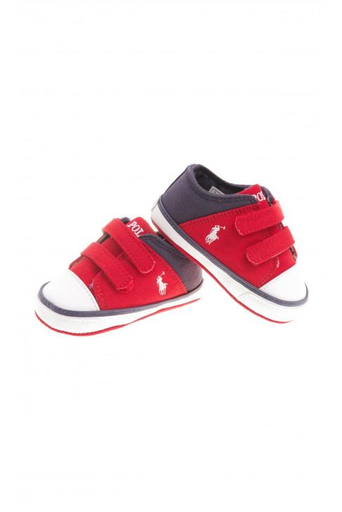 Czerwono granatowe tenisówki niemowlęce, Polo Ralph Lauren